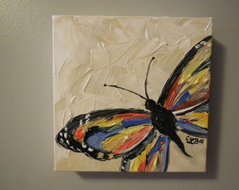 Butterfly 1 - acrylic painting 8x8 inches