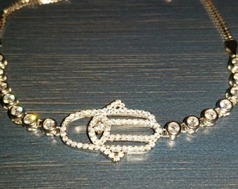 Sterling Silver Hamsa Good Luck bracelet
