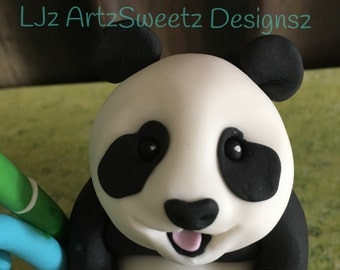 Cute 3D Edible Panda Cake Topper Birthday Christening Sugar Decoration