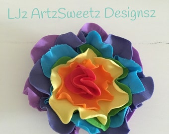 6 x Rainbow Ruffle Flowers Cake Decoration Edible Flavored Sugar Paste