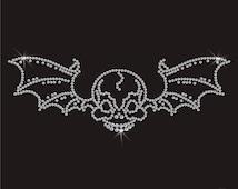 Skull Bat Wing Diamante Motif