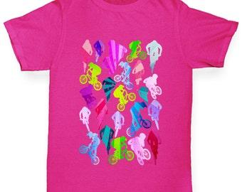 Girl's Bmx Rainbow Collage T-Shirt