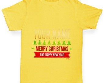 Girl's Personalised Merry Christmas And Happy New Year T-Shirt