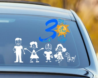 Customizable Stick Figure Family Car Decal Sticker