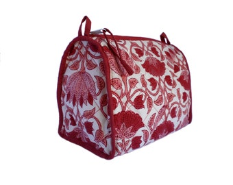 Large Lotus Print Wood-Block Printed Toiletry. Lined with Plastic and Interior Pockets.