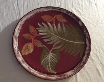 Shabby Chic Hand Painted Ceramic Platter Serving Tray