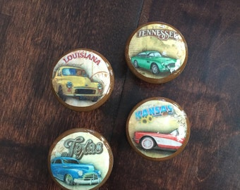 1.5 inch cabinet knobs, drawer pulls, vintage car, Classic car, state names