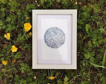 Luna Geometric art - Original Watercolor