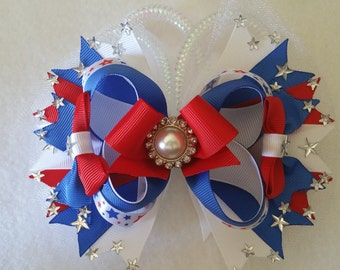 4th of July Over the top Stacked Hair Bow