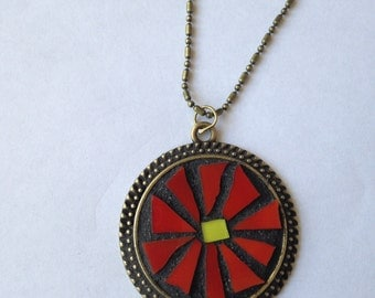"Brilliant Red Flower Stained Glass Mosaic Pendant 30mm on 1.5x3.0mm Antique Bronze 18"" Chain"