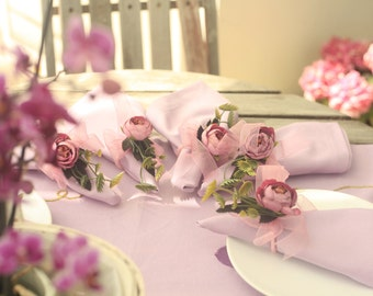 6 dinner decorative rose cloth napkins set