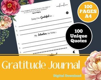 Printable Gratitude Journal, Digital Journal, Grateful Memories, Blessings Journal, 365 things, Thankful Thoughts, Daily Devotional, A4, PDF