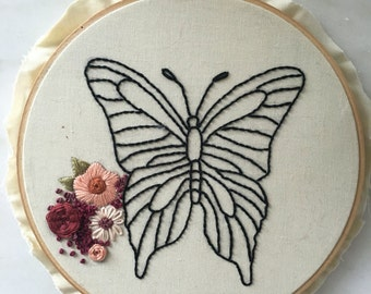 Butterfly Embroidery Hoop/ Embroidery Art/ Hoop Art
