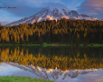 Mt. Rainier, Reflection Lake, Art, Canvas