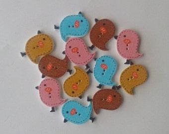 Wooden bird buttons