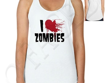 I Heart Love Zombies Ladies Racerback Tank Top - 1012C