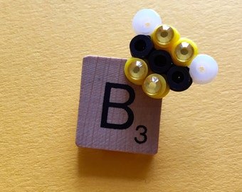 Bee Scrabble Tile Pin Brooch - Sparkles