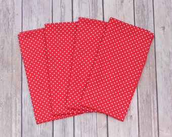Set of Four Red White Micro Polka Dot Pattern Cotton Cloth Reusable Napkins with Mitered Edges, Two Sizes Available