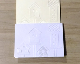 Embossed Bird Houses Greeting Cards set of 2 (150mm x 105mm)