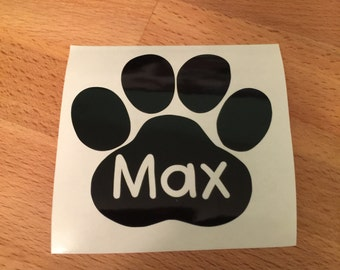 Personalized Paw Print, Decal, Dog Decal, Cat Decal, Yeti Decal, Vinyl Decal, Car Decal, Phone Decal, Laptop Decal, Water Bottle Decal