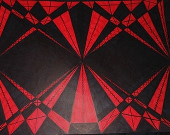 Red Black Illusion Original Handmade Sharpie 18x24 Wall Art Poster