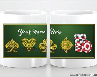 POKER MUG- Great gift idea. Customize poker players name. Great gift idea!!!!