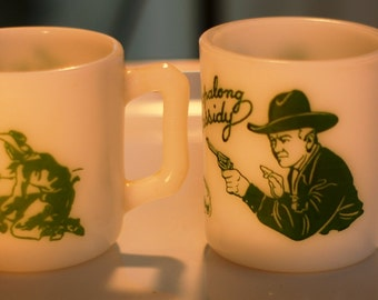 Pair of Vintage Hazel Atlas Child's Mugs: Tex at the Roundup and Hopalong Cassidy