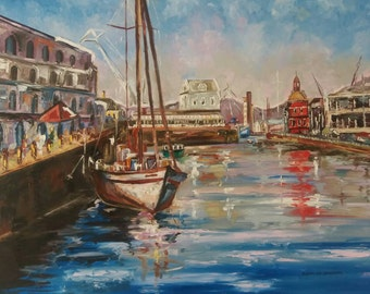 Oil Painting of the waterfront, Cape Town