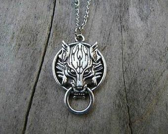 Wolf door knocker pendant with chain