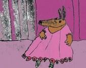 Pink tutu, green ballet shoes, brown dog, limited edition, digital print from original illustration, ready to frame, dog print, dancing dog