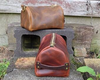 Horween Leather Dopp Kit, Toiletry Bag Travel Shaving Kit