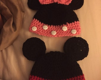 Mickey and Minnie newborn hats! Can make in any size!