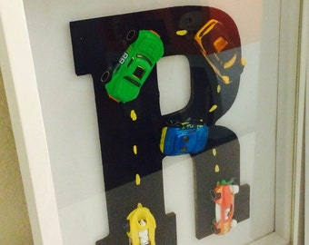 Monogrammed Letter with Race Cars
