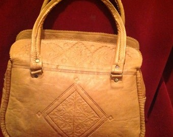 Vintage Tooled Tan Leather Handbag / Doubled Handle