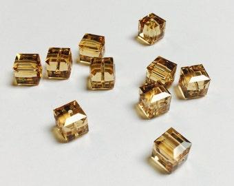 Swarovski Cubes 8 MM Lt Colorado Topaz - 10 Pieces - CB010