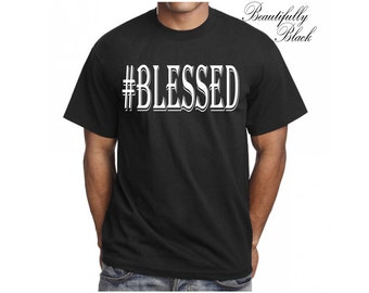 Men's T Shirt- Personalized/Custom-#Blessed Man's Topography Design
