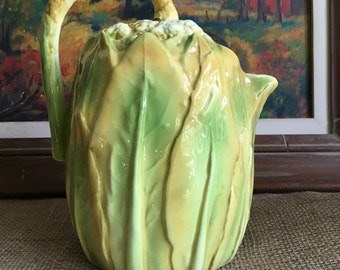 Cauliflower Ceramic Pitcher (Shafford) Majolica Inspired