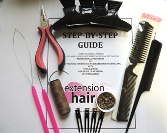 Braidless Weave Hair Extension kit and training guide for stick tip hair Free UK Post