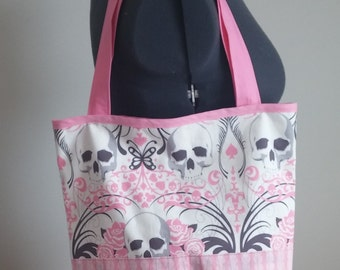 Skull Tote Bag // Carry All - Pink & Grey