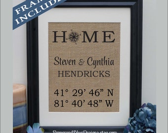 Home Latitude Longitude GPS Coordinates Burlap Print | Personalized Housewarming Gift | New House Home House Warming Location (coor409)