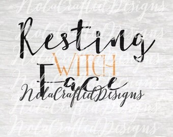 Witch Svg - Witch Png - Halloween Svg - Halloween Png - Resting Witch Face Svg - Resting Witch Face Png - Silhouette, Cricut, Vinyl Plotter