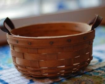1980's Vintage Farmhouse Longaberger Basket Patina Classic Primitive Rustic Hand Woven Baskets Shabby Chic Cottage Kitchen Country Decor USA