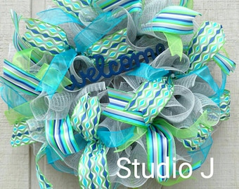 Blue and Green Welcome Wreath