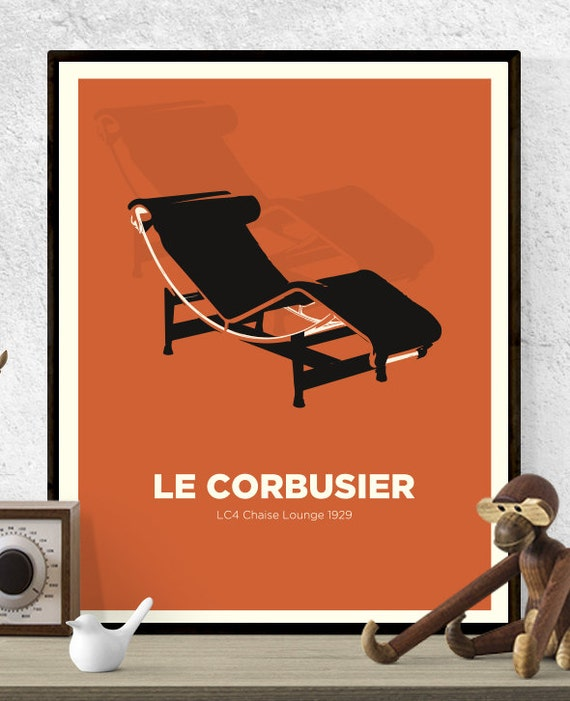 Le corbusier lc4 chaise lounge chair print mid century for Chaise design copie