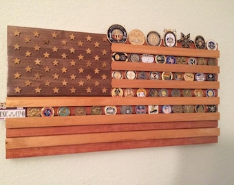 Custom United States Flag Challenge Coin Display/Holder