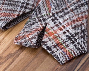 Brown and Orange Madras Plaid Wool Tie