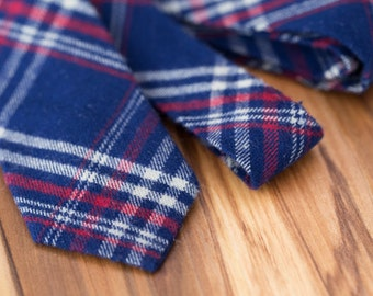 Blue and Red Plaid Wool Tie