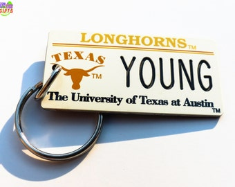 Personalized University of Texas Longhorns Keychain Tag - Retro- Machine Engraved -  Official Licensed NCAA Key Ring