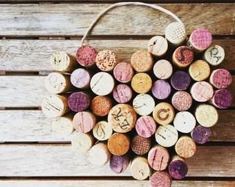 Wine Cork Heart, Home Decor, Wedding Decor, Housewarming Gift.