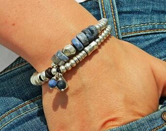 Wrap Boho bracelet,wrap bracelet,leather wrap bracelet,soladite bracelet,leather bracelet, silver plated,beaded bracelet,PP007